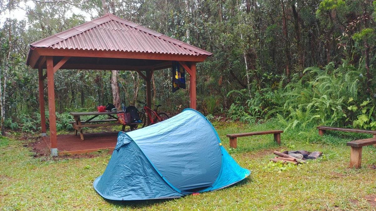 Espaces bivouac de la Rivière Bleue - setting your tent à Blue River Park New Caledonia